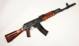 Russian AK74 assault rifle. The Russian AK74 assault rifle. The AK74 is an upgrade of the original AK47 7.62mm assault rifle to 5.45×39mm ammunition REAL royalty free stock photo