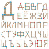 Russian alphabet made of wooden meccano Royalty Free Stock Images