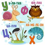 Russian alphabet part 6. Cartoon Russian alphabet for children with letters and pictures snail, eagle owl, heron and chameleon stock illustration