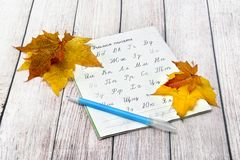 Russian alphabet, pen and autumn maple leaves. September 1. Day of Knowledge royalty free stock photos