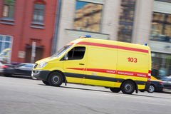 Russian ambulance car. Ambulance car in move on road royalty free stock photo