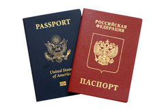 Russian and American passports Stock Photo