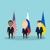 Russian, american and ukrainian politicians. Royalty Free Stock Images