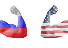 Russian and american union flag Stock Images