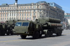 Russian anti-aircraft missile system large and medium-range anti-aircraft missile complex Triumph S-400 Royalty Free Stock Images