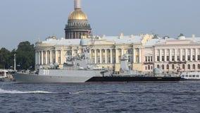 Russian anti-submarine ship `Kazanets` Parchim-class corvette on Neva river stock video