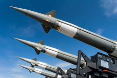 Russian antiaircraft rocket against sky. Russian antiaircraft rocket against blue sky Stock Image