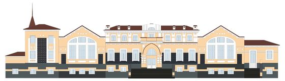 Russian architecture. Railway Station in the town of Kungur. The old building, Perm region vector illustration