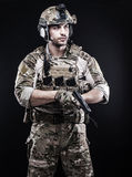 Russian armed forces. Russian special forces on black stock photos