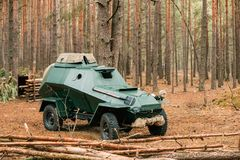 Russian Armored Soviet Scout Car BA-64 Of World War II In Autumn. Forest Stock Images