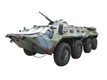 Russian Army BTR-82A wheeled armoured vehicle personnel carrier. Isolated over white background stock photo
