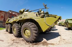 Russian Army BTR-82 wheeled armoured vehicle personnel carrier. SAMARA, RUSSIA - MAY 8, 2014: Russian Army BTR-82 wheeled armoured vehicle personnel carrier Royalty Free Stock Images