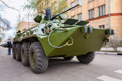 Russian Army BTR-82 wheeled armoured vehicle personnel carrier. SAMARA, RUSSIA - MAY 6, 2014: Russian Army BTR-82 wheeled armoured vehicle personnel carrier Stock Images