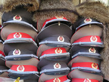 Russian Army Caps Royalty Free Stock Photography