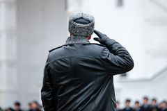 Russian army general. Salutation. Back view. Winter view. Presidential Regiment of the Service of Moscow Kremlin's Commandant of the Federal Guard Service of Royalty Free Stock Image