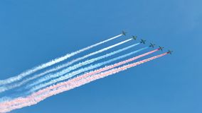 Russian army military jets during military parade Royalty Free Stock Photos