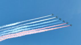 Russian army military jets during military parade Stock Photo