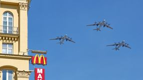 Russian army military jets during military parade Royalty Free Stock Image