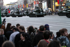 Russian army military vehicles in downtown Moscow Stock Photo