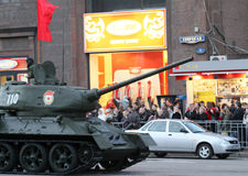 Russian army military vehicles in downtown Moscow Royalty Free Stock Photos