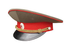 Russian army officer cap isolated Stock Photo