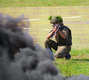 Russian army. The soldier fires his machine Stock Photo