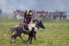 Russian army soldiers at Borodino battle historical reenactment in Russia royalty free stock images