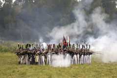 Russian army soldiers at Borodino battle historical reenactment in Russia Stock Images