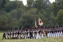 Russian army soldiers at Borodino battle historical reenactment in Russia royalty free stock image
