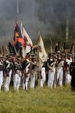 Russian army soldiers at Borodino battle historical reenactment in Russia stock image