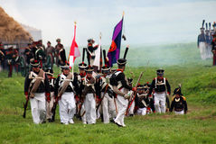 Russian army soldiers at Borodino battle historical reenactment in Russia Royalty Free Stock Photos