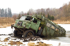 Russian army truck - GAZ-66. Russian army truck forgotten in the marsh Royalty Free Stock Photos