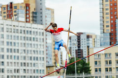 russian athlete jumper failed attempt pole vault Royalty Free Stock Photo