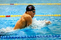 Russian athlete swimmer swimming breaststroke Royalty Free Stock Photos