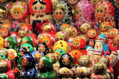 Russian Babushka doll at market in Russia Stock Image