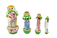 Russian babushka  dolls with euro bills isolated Stock Image