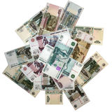 THE RUSSIAN BANK NOTES. Denominations, roubles; background royalty free stock photos