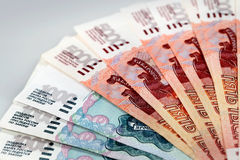 Russian bank notes Stock Images