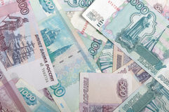 Russian bank notes. Background image of different russian bank notes Stock Images