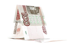 Russian banknote ruble sailfish, rouble vessel  on white background Royalty Free Stock Image