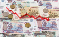 Russian banknotes and arrow down Royalty Free Stock Photography