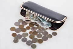 Russian banknotes and coins in black purse Stock Photo