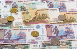 Russian banknotes and coins Royalty Free Stock Photos