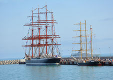 Russian barque Bark Sedov and the Bulgarian brigantine Kaliakra. Bark Sedov and the brigantine Kaliakra often take part in regattas stock photo