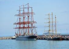 Russian barque Bark Sedov and the Bulgarian brigantine Kaliakra Stock Photo
