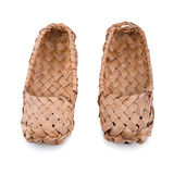 Russian bast shoes. Old Russian bast shoes isolated on white background.Focus on the front Royalty Free Stock Photo