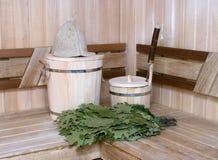 Russian bath. Traditional attributes of Russian bath Stock Photos