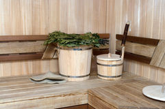 Russian bath. Interior and attributes of a pair Russian bath Stock Images