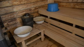 Russian bath with round logs stock video footage