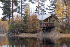 Russian bathhouse on the bank of the lake Royalty Free Stock Photography